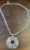 Vintage Silver Tone Two Strand Choker Necklace With Modern Circular Pendant