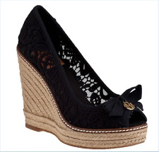 SUPER BEAUTIFUL!!! Tory Burch 'Jackie' Lace Espadrille Wedge WOMEN PUMPS  9