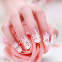 24Pcs Acrylic design french nail full cover nail tips false art crystal diam AF