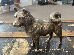 Oshima Joun Okimono Silver Statue Shiba Inu Japanese Meiji TaishoJ Antique Doge