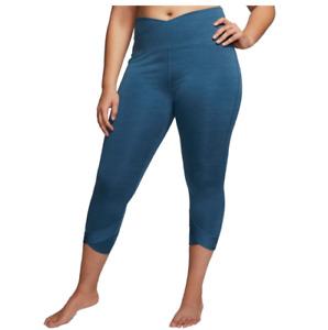 Nike Yoga Tights Womens Plus 1X Authentic Dri Fit High Rise 7/8 Length Wrap Blue