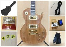 Haze 227GC LP Les Paul Electric Guitar,Spalted Maple Veneer+Free Gig Bag,Strap