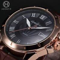 New AgentX Luxury Men Black Dial Date Leather Quartz Stainless Steel Wrist Watch