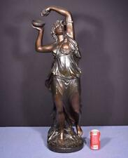 """*37"""" Tall Antique Bronzed Plaster Sculpture of a Woman with Grapes by Clodion"""