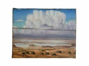 Antique American Southwest WPA Era Desert Landscape Rain Clouds Oil Painting Old