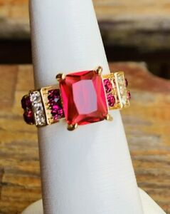 Emerald Cut Red Ruby Diamond Engagement Ring Gold Over 925 Sterling Finish