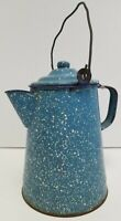 Graniteware Enamelware Blue White Speckle Coffee Teapot Farmhouse Vintage