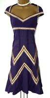 Karen Millen 8 UK Purple Galaxy Embroidered Chevron Occasion fit Flare Dress