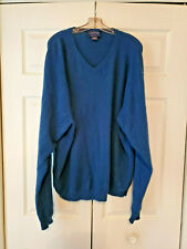 Club Room By Charter Club 2-Ply 100% Cashmere Blue Mens V-Neck Sweater XXL