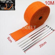 "Orange Exhaust Heat Wrap High Temp Manifold Front Pipe Exhaust Shields 2"" x 10M"
