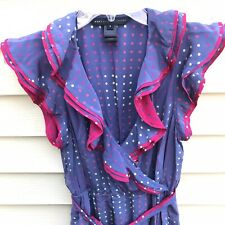 MARC By MARC JACOBS SLEEVELESS RUFFLE DRESS $275 Violet Hot Pink Dots Print 2