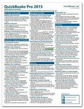 QuickBooks Pro 2015 Training Guide Quick Reference Card 4 Page Cheat Sheet