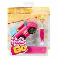Barbie - On The Go Doll + Car (Figure 10cm) Mattel)