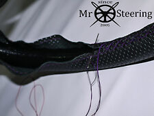 FOR 2009+ TOYOTA VERSO PERFORATED LEATHER STEERING WHEEL COVER PURPLE DOUBLE STT
