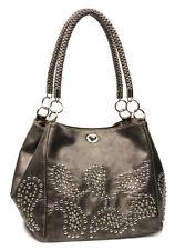 Bronze Designer Inspired Studs Braided Handles Celebrity Handbag. Purse Hobo