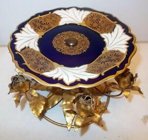 Antique WEIMAR KOBALT Cobalt Germany TAZZA  Centerpiece Gold TOLE Metal ROSE