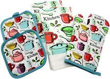 Kitchen Gift Set  2 100% Cotton Towels 2 Pot Holders Oven Mitt  Kitchen clip art