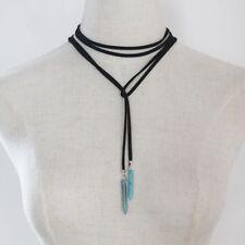 Black Suede Lace Necklace Wrap Tie Choker & Turquoise Stone Tips - Vintage Boho