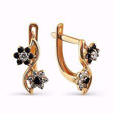 585 Russian Rose 14ct Gold Flower Hoop Huggie Earrings Gift Boxed