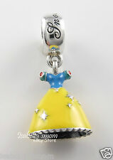 Disney SNOW WHITE'S DRESS 100% Authentic PANDORA Silver PRINCESS Charm/Bead NEW