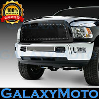 Black Replacement Mesh Front Hood Grille+Shell for 13-18 DODGE RAM 2500+3500