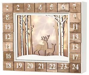 BRUBAKER Reusable Wooden Advent Calendar - White Winter Landscape with LED Light