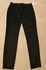 "Jo B Black Legging Floral Sz L MSRP: $36 Now $17.99 No Pockets, Wide 2"" Waistbd"