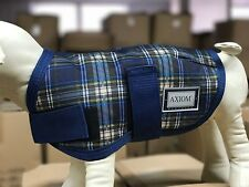 AXIOM 1800D TARTEN NAVY/YLW CHECK WATERPROOF WARM DOG COAT 30CM