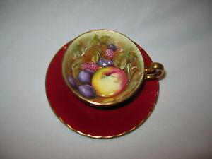 "Vintage Aynsley ""Orchard Fruit"" Tea Cup & Saucer ~ D. Jones Red Gold Bone China"