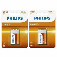 2 x GENUINE PHILLIPS 9V BATTERY LONG LIFE Zinc Carbon Batteries Smoke Alarm UK