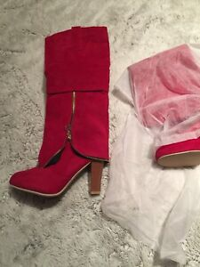 Ladies Red Suede Boots