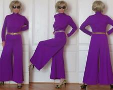 RETRO PURPLE PALAZZO BELL BOTTOM STRETCHY JUMPSUIT WIDE LEGS STANDING COLLAR S