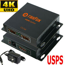 1x2 Port Powered 4K HDMI Splitter 1 in 2 out Repeater Amplifier Box Hub 3D 1080p