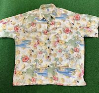 Vintage Kahala MADE IN HAWAII Woman Hula Dance Pineapples Flowers Sz XL