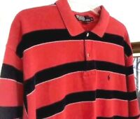 Ralph Lauren Polo Shirt Men's XL Short Sleeve Waffle Knit Striped Casual Career