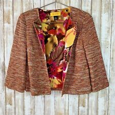 ST JOHN Gold Multi Color Tweed Knit 3/4 Sleeve Blazer Jacket Wool 2 XS S Small