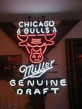 """RARE CHICAGO BULLS MILLER GENUINE DRAFT BEER NEON LIGHT SIGN LARGE 29"""" X 22"""""""