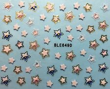 Nail Art 3D Decal Stickers Stars Red White Blue Gold BLE649D