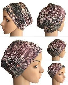 HEADWEAR FOR HAIR LOSS, GREY PINK BURNOUT SOFT JERSEY RUCH HAT CANCER CHEMO