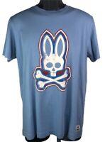Psycho Bunny Robert Godley Unisex Graphic T-Shirt Blue White Crew Pima Cotton 4