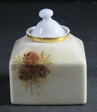 Porcelain Ceramic Inkwell and Ink Pot Pinecone Hand Painted Lidded