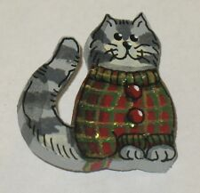 Vintage Painted Wood Cat Pin