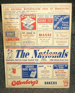 AUG 8 1956 YANKEES VS NATIONALS PROGRAM SIGNED BY MARTIN RIZZUTO FORD CAREY JSA