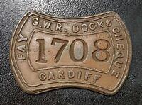 Railwayana: Antique GWR Docks Cardiff Pay Cheque Token.