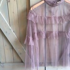 New Anthropologie Womens Tulle & Lace Ethereal Boho Gypsy Mauve Blouse Top Small