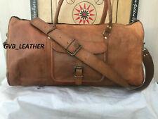 Leather Cowhide Overnight Travel Duffel Gym Men Weekend Vintage Genuine Luggage