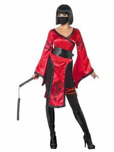 Womens Ninja Costume Samurai Asian Dragon Lady Fancy Dress Adult Red Warrior NEW
