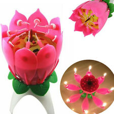 US Lotus Candle Birthday Flower Musical Rotating Floral Cake Candles Music Magic