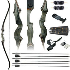 60'' Takedown Recurve Bow Archery Arrows Set 30-50lb Hunting Target Right Hand
