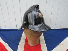 More details for stylish antique vintage british firemans black helmet fire brigade memorabillia
